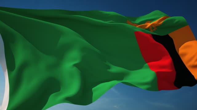 4K Zambia Flag - Loopable