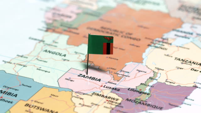 zambia with national flag - zambia stock videos & royalty-free footage