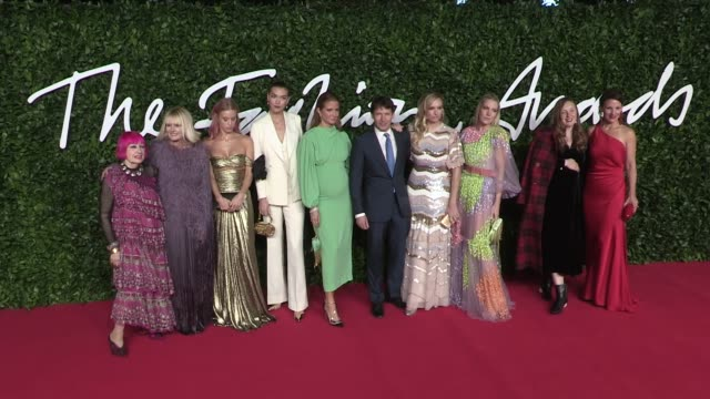 zandra rhodes, lady mary charteris, arizona muse, millie mackintosh, james blunt, lady sofia wellesley, alice naylor-leyland and more on the red... - fashion designer stock videos & royalty-free footage