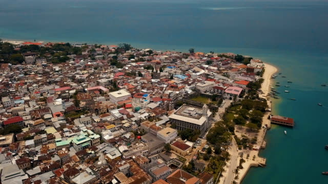zanzibar stone town: aerial shot with old fort - zanzibar archipelago stock videos & royalty-free footage