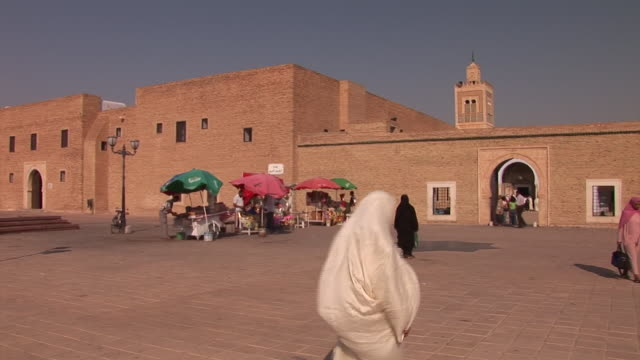zaouia sidi sahib mosque (mosque of the barber) in kairouan, tunesia - tunisia video stock e b–roll