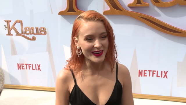 interview zara larsson on how excited she is to see klaus talks about the songs message why the films message of kindness is important at regency... - bruin theater stock videos & royalty-free footage