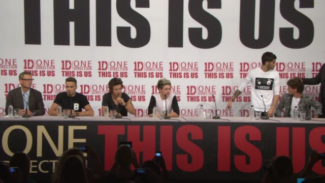 BROLL Zayn Malik Harry Styles Louis Tomlinson Liam Payne Niall Horan at 'This Is Us' One Direction Press Conference on August 19 2013 in London...