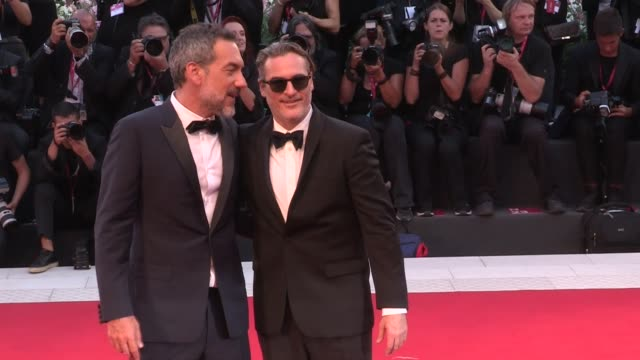 zazie beetz joaquin phoenix todd phillips on the red carpet for the joker during the 76th venice film festival venice italy on saturday august 31 2019 - joaquin phoenix stock videos & royalty-free footage