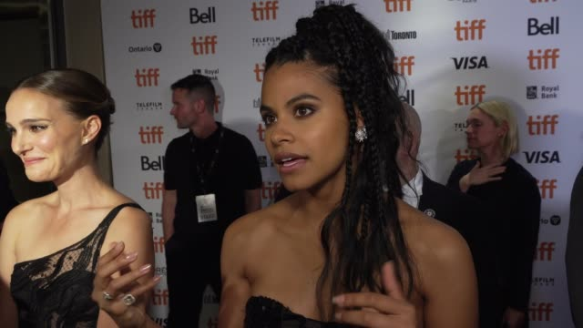 zazie beetz on why she found this story interesting, how the way its shot makes it an immersive experience and talks about working with natalie and... - toronto international film festival stock videos & royalty-free footage