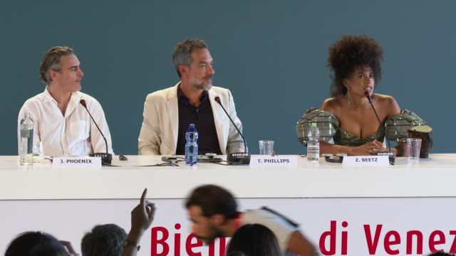 zazie beetz, todd phillips on working with together to develop zazie character, how much improvisation and rewriting was involved in the role and the... - べネチア国際映画祭点の映像素材/bロール
