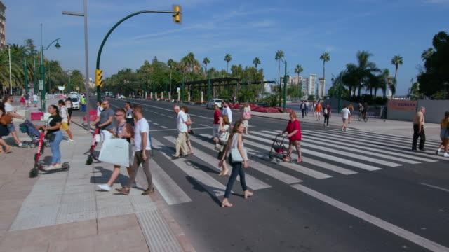 zebra crossing on plaza de la marina, malaga, andalusia, spain - zebra crossing stock videos & royalty-free footage