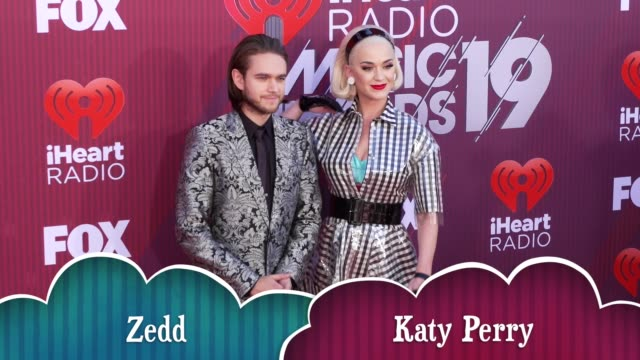 Zedd and Katy Perry at the 2019 iHeartRadio Music Awards at Microsoft Theater on March 14 2019 in Los Angeles California