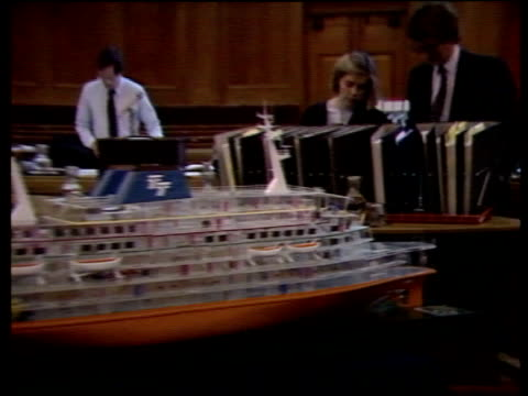 stockvideo's en b-roll-footage met day 2 b england london westminster church house ms model of the 'herald of free enterprise' pull out people getting ready for inquiry session court... - ramp veerboot zeebrugge 1987