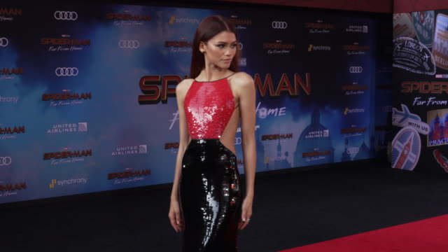 "zendaya at the world premiere of ""spider-man: far from home"" on june 26, 2019 in hollywood, california. - arts culture and entertainment stock videos & royalty-free footage"