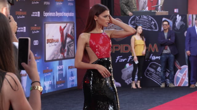 zendaya at the world premiere of spiderman far from home on june 26 2019 in hollywood california - gif file format extension stock videos & royalty-free footage