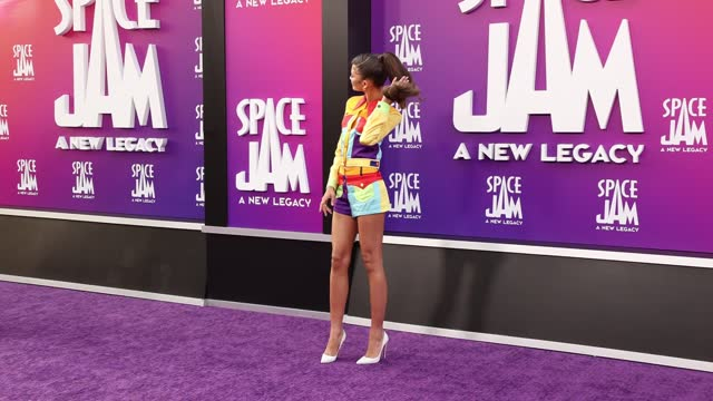 """zendaya attends the premiere of warner bros """"space jam: a new legacy"""" at regal live on july 12, 2021 in los angeles, california. - space jam stock videos & royalty-free footage"""