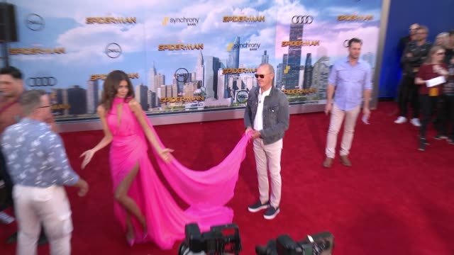 "zendaya michael keaton at audi arrivals at the world premiere of ""spiderman homecoming"" in los angeles ca - homecoming stock videos & royalty-free footage"