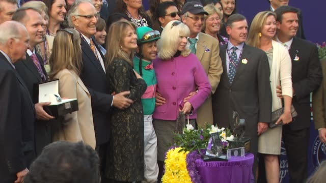 zenyatta & mike smith at the breeders' cup world thoroughbred championships at arcadia ca. - championships stock videos & royalty-free footage
