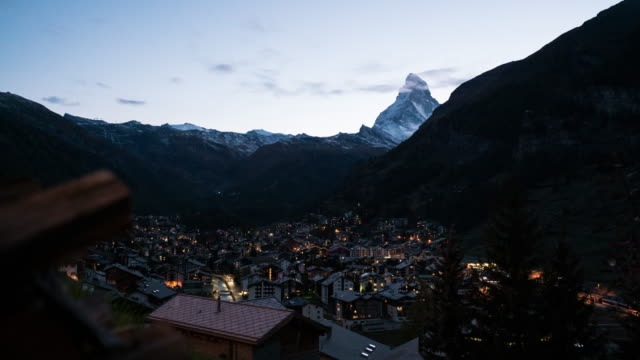 zermatt, switzerland - twilight stock videos & royalty-free footage