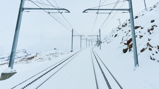 4k: zermatt to go gornergrat train traffic time lapse, switzerland - tramway stock videos & royalty-free footage