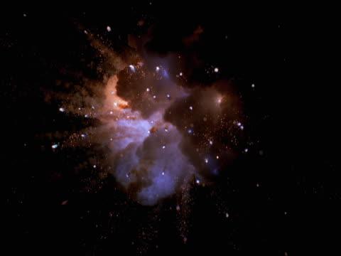 vídeos de stock, filmes e b-roll de zero gravity gold and violet starburst - zero gravity