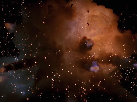 vídeos de stock, filmes e b-roll de zero gravity golden smoke-filled explosion - zero gravity
