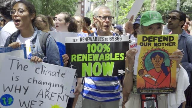 zero hour nyc youth climate march youth call upon policymakers to cut ties with the fossil fuel industry and invest in a sustainable future and for... - earth day stock videos & royalty-free footage