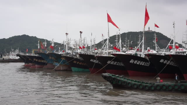 zhoushan shenjiamen fishing port, located in the east of zhejiang province, is the largest natural fishing port in china and one of the world's three... - anchored stock-videos und b-roll-filmmaterial