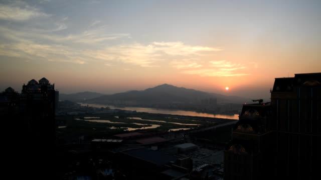 Zhuhai Hengqin New area sunset view from Macau