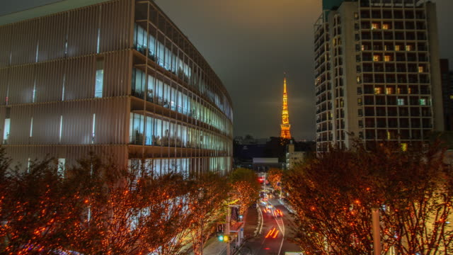 t/l ws zi: tokyo tower and christmas illuminations in roppongi tokyo , japan - roppongi stock videos and b-roll footage