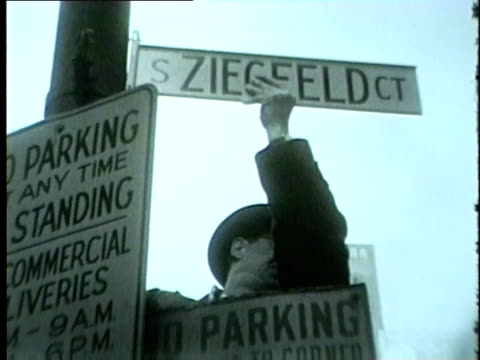 ziegfeld ct street sign installed by ziegfeld theater in chicago in 1954. - 1954 stock videos & royalty-free footage