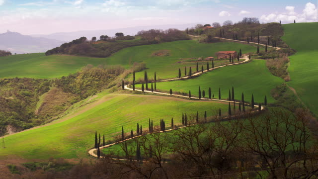 zig zag road near castellucchio la foce - tuscany stock videos and b-roll footage