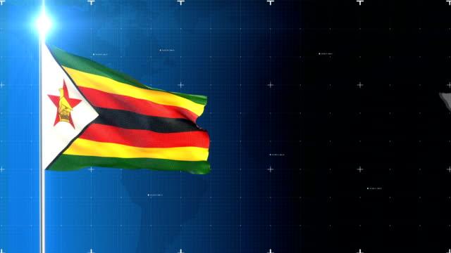 vídeos de stock, filmes e b-roll de bandeira de zimbabué - áfrica meridional