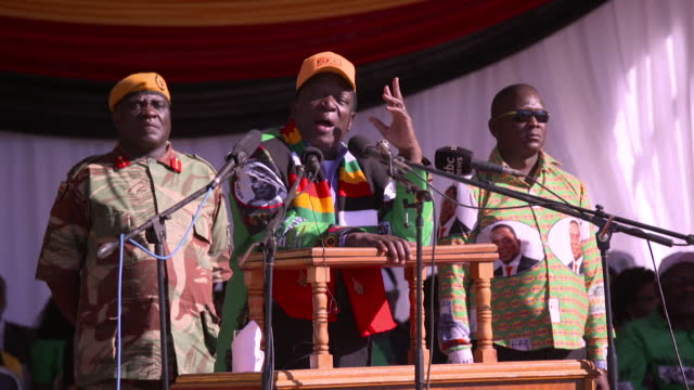 zimbabwe president emmerson mnangagwa saying we are a new zimbabwe we are a new era we want a new future in a speech during his campaign trail - political rally stock videos & royalty-free footage