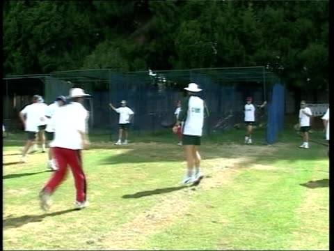 AntiMugabe protest at Lords LIB GVs Cricket players practising in nets