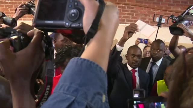 zimbabwean opposition leader nelson chamisa of the mdc casts his vote in harare in the 2018 presidential election - voting stock videos & royalty-free footage