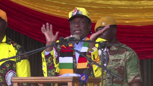 zimbabwean president emmerson mnangagwa boasts about economic growth two days before the national elections - zimbabwe stock videos & royalty-free footage