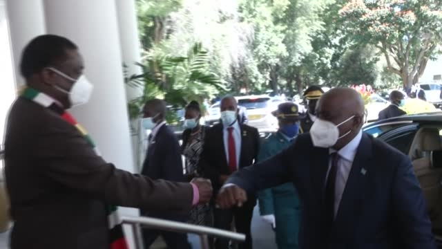 zimbabwean president emmerson mnangagwa receives a visit from president of botswana mokgweetsi masisi in his capacity as chairperson of the southern... - chairperson stock videos & royalty-free footage