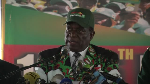 zimbabwe's new president emmerson mnangagwa draws a firm line under the 37 year reign of robert mugabe in a keynote speech to the ruling zanu pf party - zimbabwe stock videos & royalty-free footage