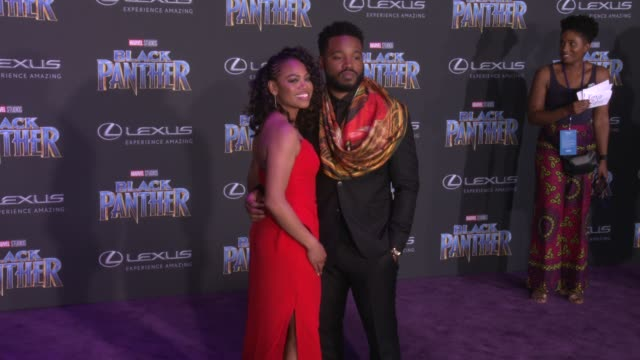 zinzi evans and ryan coogler at the marvel studios' black panther world premiere at dolby theatre on january 29 2018 in hollywood california - ryan coogler stock videos and b-roll footage