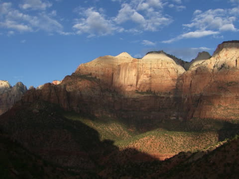zion: layered sandstone mountains - sandstone stock videos & royalty-free footage