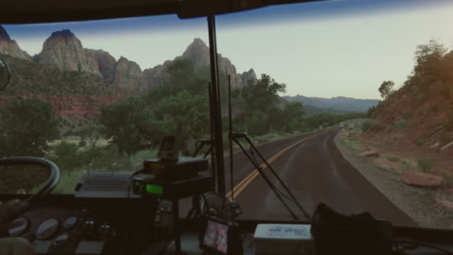 zion national park from the tourist bus, utah - bus stock videos & royalty-free footage