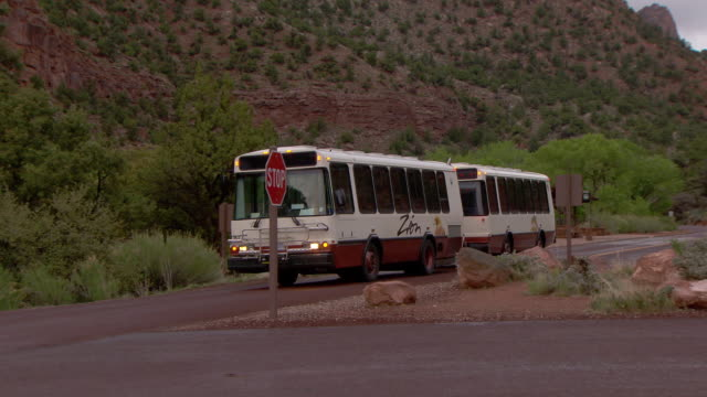 Zion National Park shuttle bus stopping at stop sign and passing the camera