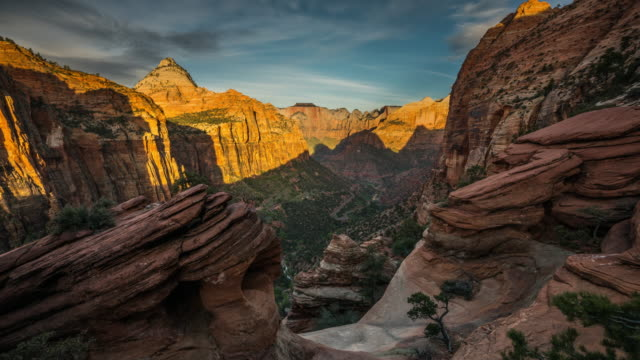 time lapse: zion national park utah usa - 4k nature/wildlife/weather - dawn to day stock videos & royalty-free footage