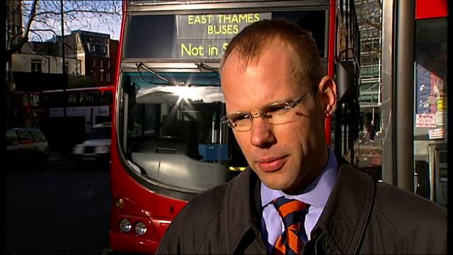 'zip cards' launched on london buses jeroen weimar interview sot - weimar video stock e b–roll