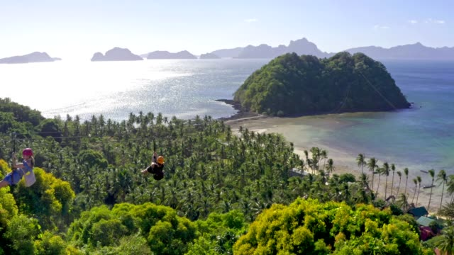 zip line above the sea on the island of palawan, el nido philippines - zip line stock videos & royalty-free footage
