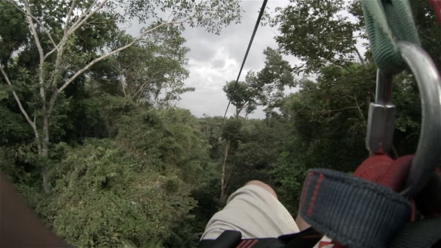 a zip ride in costa rica - zip line stock videos & royalty-free footage