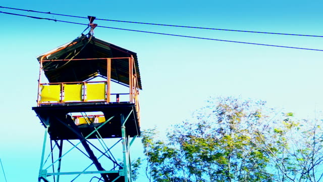 Zipline Adventure tower against blue sky.
