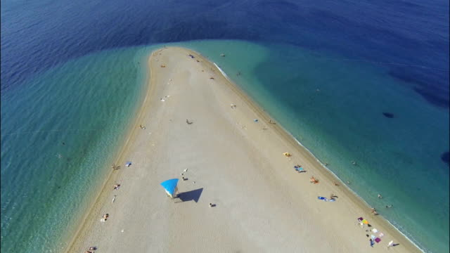 zlatni rat beach, bol, brac island, dalmatia, croatia, from drone - outdoor chair stock videos & royalty-free footage
