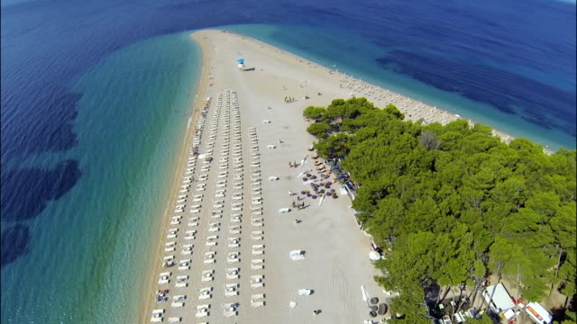 zlatni rat beach, bol, brac island, dalmatia, croatia, from drone - croatia stock videos & royalty-free footage