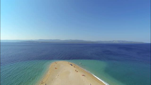 zlatni rat beach, bol, brac island, dalmatia, croatia, from drone - outdoor chair stock videos & royalty-free footage