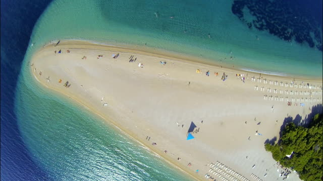 Zlatni rat beach, Bol, Brac island, Dalmatia, Croatia, from drone
