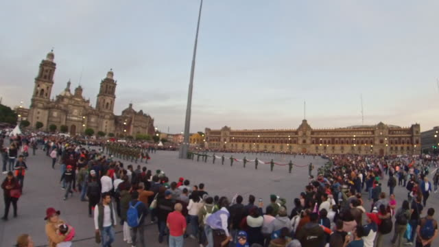 zocalo and flag ceremony in mexico city - latin america stock videos & royalty-free footage