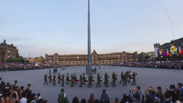 zocalo and flag ceremony in mexico city - mp stock videos & royalty-free footage